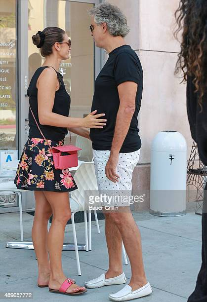 Andrea Bocelli with his wife Veronica Berti are seen on September 22 2015 in Los Angeles California