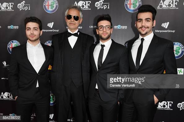 Andrea Bocelli with Piero Barone Gianluca Ginoble and Ignazio Boschetto of Il Volo walk the red carpet of Bocelli and Zanetti Night on May 25 2016 in...