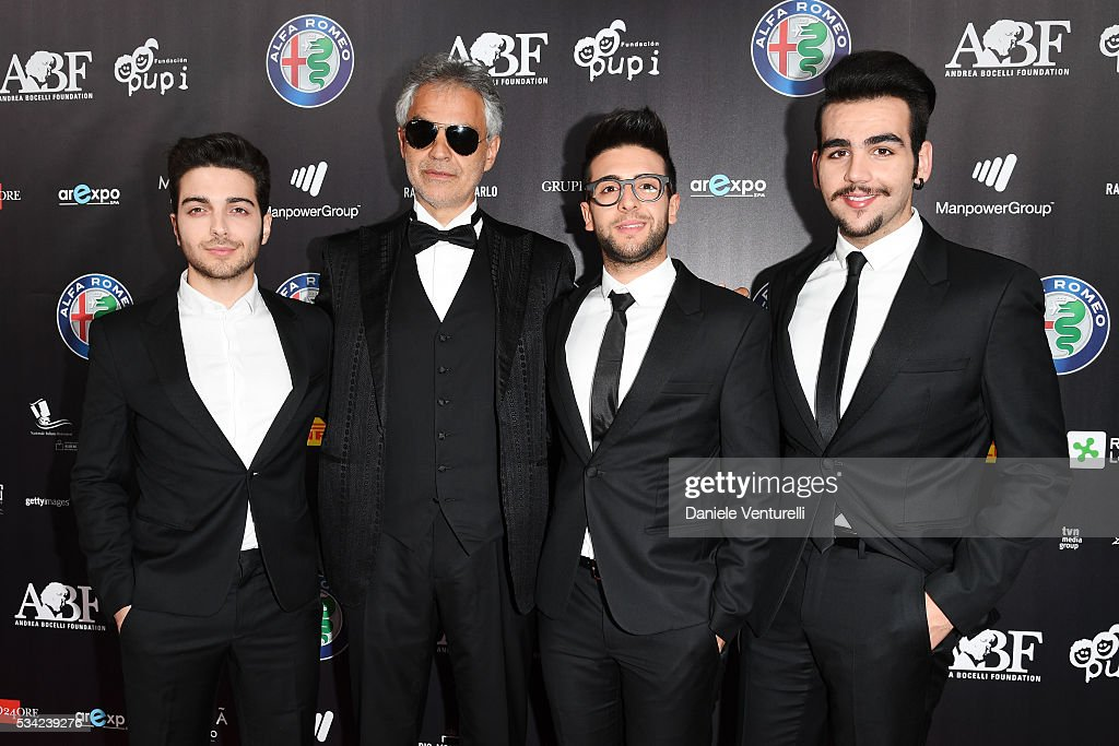 <a gi-track='captionPersonalityLinkClicked' href=/galleries/search?phrase=Andrea+Bocelli&family=editorial&specificpeople=211558 ng-click='$event.stopPropagation()'>Andrea Bocelli</a> (2ndL) with <a gi-track='captionPersonalityLinkClicked' href=/galleries/search?phrase=Piero+Barone&family=editorial&specificpeople=5945024 ng-click='$event.stopPropagation()'>Piero Barone</a>, <a gi-track='captionPersonalityLinkClicked' href=/galleries/search?phrase=Gianluca+Ginoble&family=editorial&specificpeople=5945022 ng-click='$event.stopPropagation()'>Gianluca Ginoble</a> and <a gi-track='captionPersonalityLinkClicked' href=/galleries/search?phrase=Ignazio+Boschetto&family=editorial&specificpeople=5945023 ng-click='$event.stopPropagation()'>Ignazio Boschetto</a> of Il Volo walk the red carpet of Bocelli and Zanetti Night on May 25, 2016 in Rho, Italy.