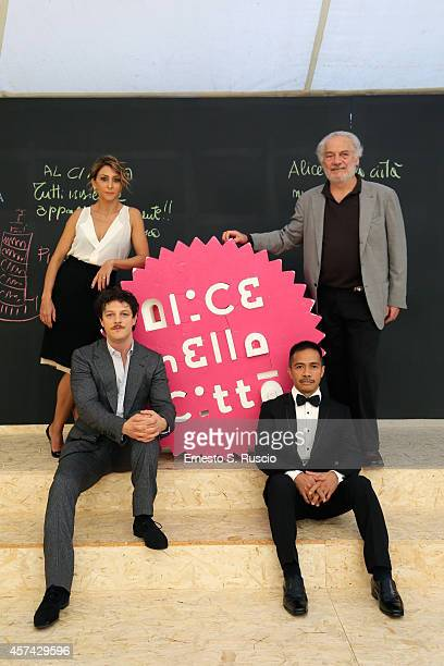 Andrea Bosca Paola Minaccioni Giorgio Colangeli Benjamin Vasquez Barcellano JR pose at the Meet The Audience QA during the 9th Rome Film Festival on...