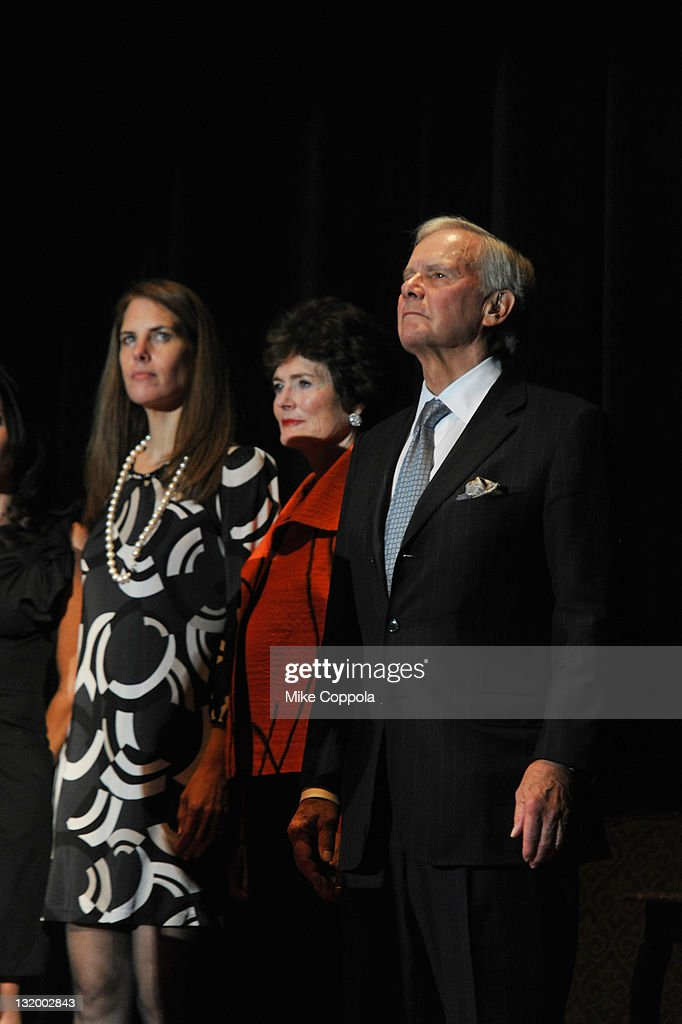 Andrea Brokaw Simon, Meredith Brokaw and former NBC news anchor <a gi-track='captionPersonalityLinkClicked' href=/galleries/search?phrase=Tom+Brokaw&family=editorial&specificpeople=203263 ng-click='$event.stopPropagation()'>Tom Brokaw</a> attend the International Rescue Committee's Annual Freedom Award benefit at the Waldorf Astoria Hotel on November 9, 2011 in New York City.