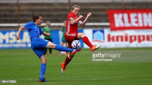 Andrea Brunner of Bayern challenges Jasmin Jabbes of Meppen during the B Junior Girl's German Championship Semi Final match between SV Meppen and...