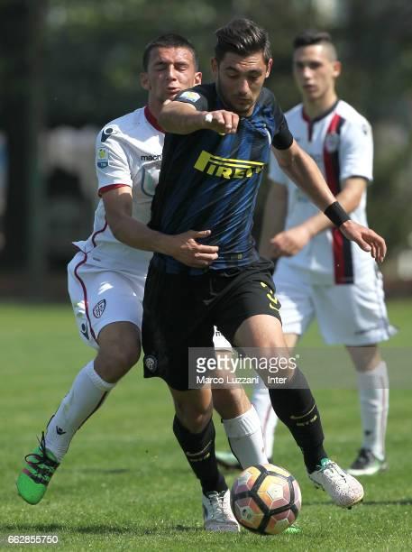 Andrea Cagnano of FC Internazionale competes for the ball during the Primavera Tim juvenile match between FC Internazionale and Cagliari Calcio at...