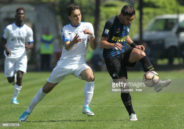 Andrea Cagnano of FC Internazionale competes for the ball during the Primavera Tim juvenile match between FC Internazionale and Atalanta BC at Stadio...