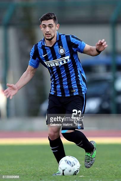 Andrea Cagnano of FC Internazionale in action during the Viareggio Juvenile Tournament match between FC Internazionale and Akademija Pandev on March...