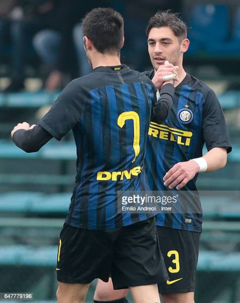 Andrea Cagnano of FC Internazionale Milano celebrates his goal with his teammate Matteo Rover during the Primavera Tim juvenile match between FC...