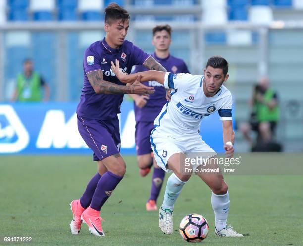 Andrea Cagnano of FC Internazionale Milano competes for the ball with Julian Illanes Minucci of ACF Fiorentina during the Primavera TIM Playoffs...