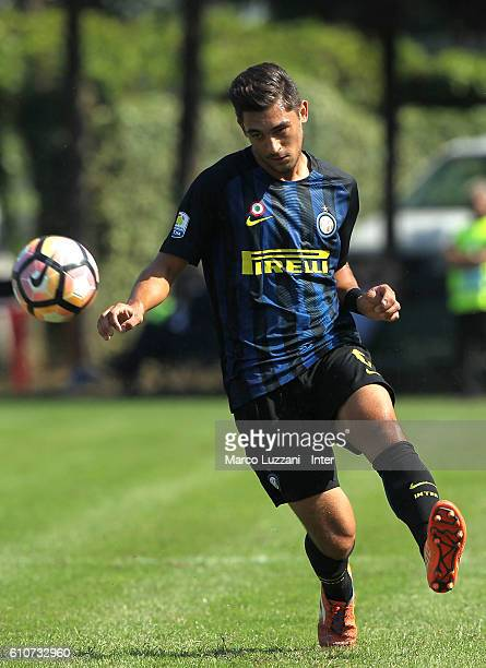 Andrea Cagnano of FC Internazionale Milano in action during the Primavera Tim juvenile match between FC Internazionale and Virtus Entella at Stadio...