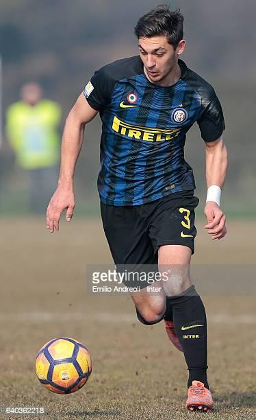 Andrea Cagnano of FC Internazionale Milano in action during the Primavera Tim juvenile match between FC Internazionale and US Salernitana at Centro...