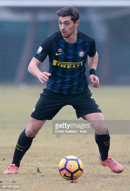 Andrea Cagnano of FC Internazionale Milano in action during the Primavera Tim juvenile match between FC Internazionale and AS Roma at Stadio Breda on...