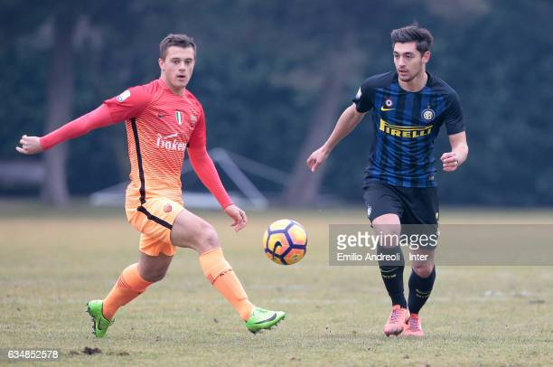 Andrea Cagnano of FC Internazionale Milano is challenged by Silvio Anocic of As Roma during the Primavera Tim juvenile match between FC...