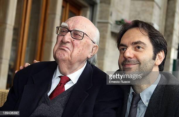 Andrea Camilleri and Neri Marcore attend 'La Scomparsa Di Pato' photocall at Alfredo Restaurant on February 20 2012 in Rome Italy