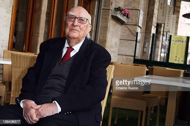 Andrea Camilleri attends 'La Scomparsa Di Pato' photocall at Alfredo Restaurant on February 20 2012 in Rome Italy