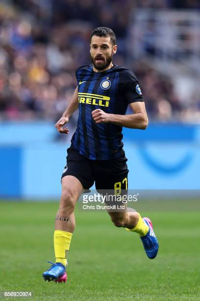 Andrea Candreva of FC Internazionale in action during the Serie A match between FC Internazionale and Atalanta BC at Stadio Giuseppe Meazza on March...