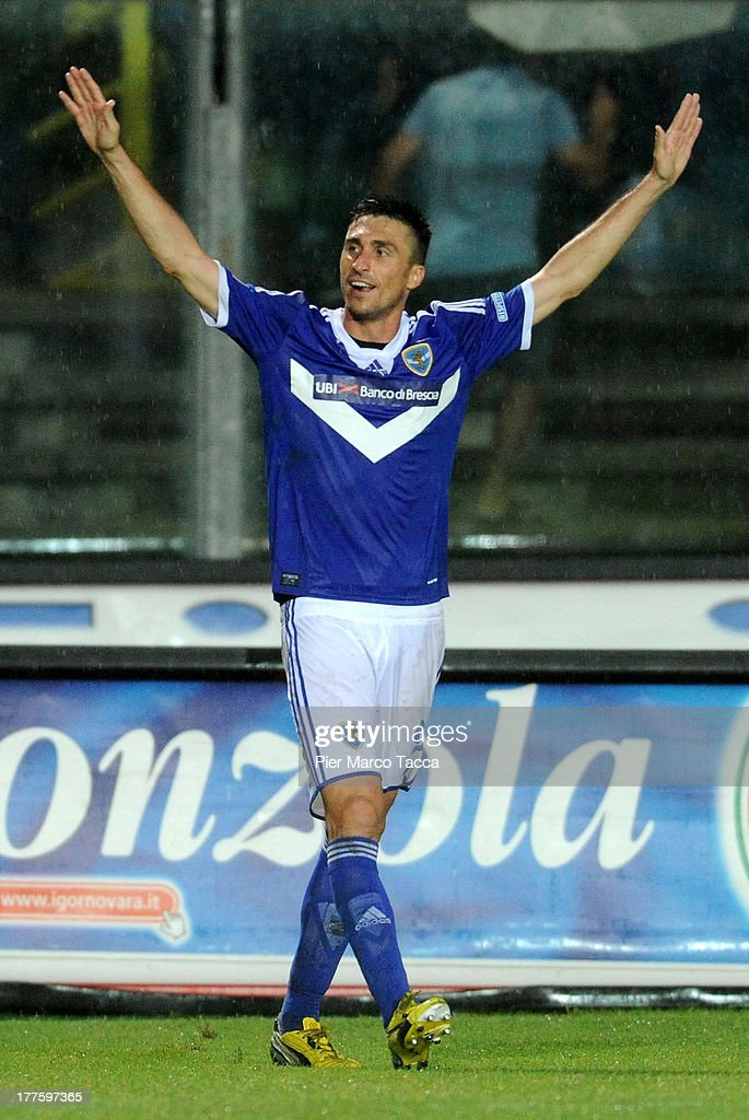 Andrea Caracciolo of Brescia celebrates scoring the second goal during the Serie B match between Brescia Calcio and Virtus Lanciano at Mario Rigamonti Stadium on August 24, 2013 in Brescia, Italy.