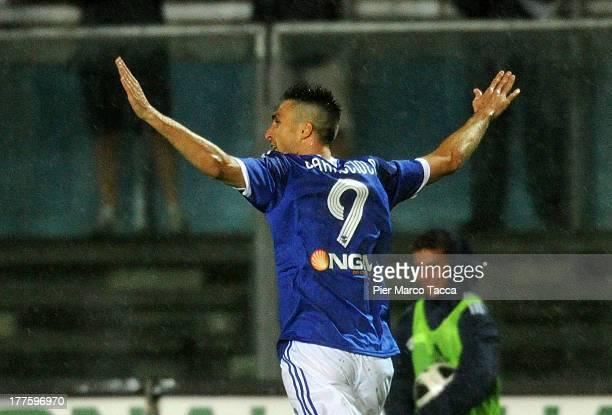 Andrea Caracciolo of Brescia celebrates the goal of 10 during the Serie B match between Brescia Calcio and Virtus Lanciano at Mario Rigamonti Stadium...