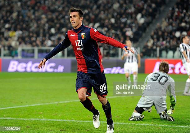 Andrea Caracciolo of Genoa CFC celebrates scoring the second goal during the Serie A match between Juventus FC and Genoa CFC on October 22 2011 in...