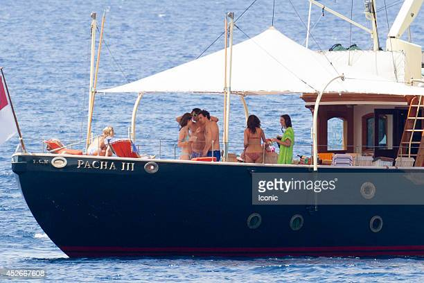 Andrea Casiraghi Alex Dellal Tatiana Santo Domingo and Elisa Sednaoui are seen on the Pacha III yacht on July 25 2014 in Ibiza Spain