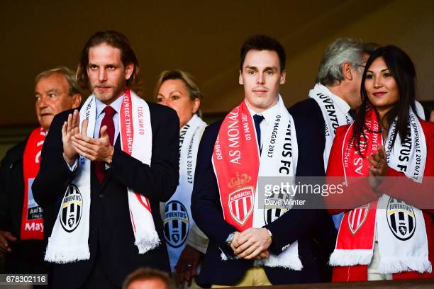 Andrea Casiraghi and Louis Ducruet and his wife Marie Chevalier during the Uefa Champions League match semi final first leg between As Monaco and...