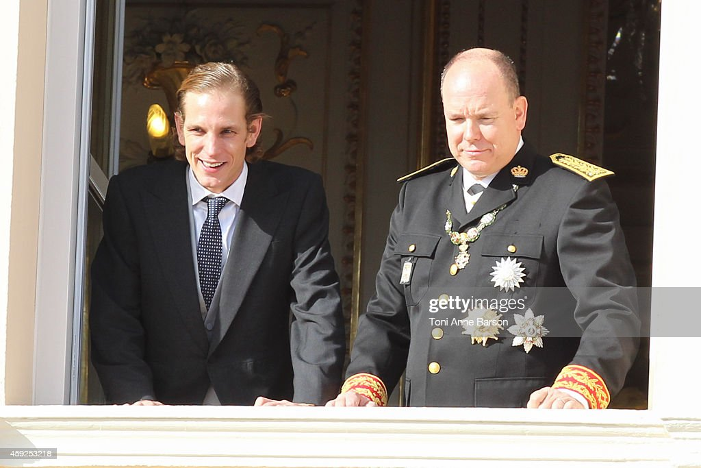 Andrea Casiraghi and Prince Albert II of Monaco attend the National Day Parade as part of Monaco National Day Celebrations at Monaco Palace on November 19, 2014 in Monaco, Monaco.