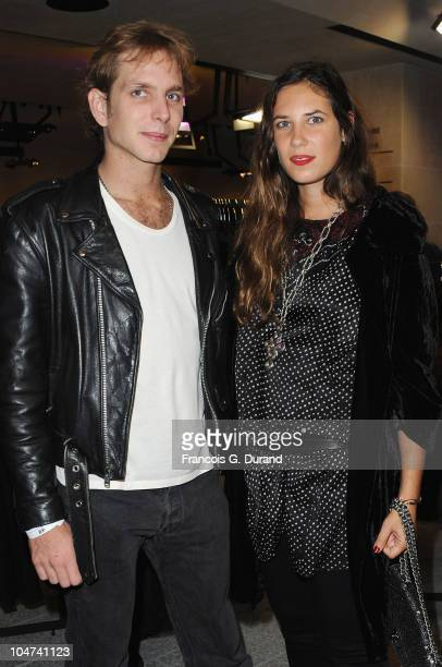 Andrea Casiraghi and Tatiana Santo Domingo attend the 'HM Champs Elysees' Designed by Jean Nouvel flagship opening during Paris Fashion Week Spring/...