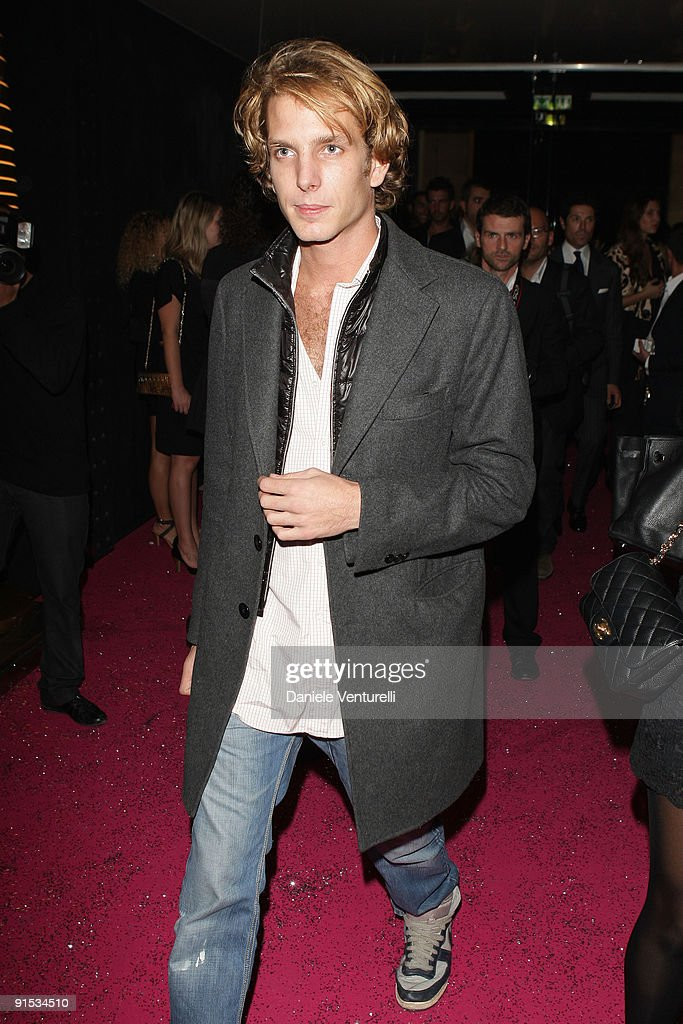<a gi-track='captionPersonalityLinkClicked' href=/galleries/search?phrase=Andrea+Casiraghi&family=editorial&specificpeople=213711 ng-click='$event.stopPropagation()'>Andrea Casiraghi</a> attends Fendi 'O' party For Pixie Lott at the VIP ROOM Theater on October 6, 2009 in Paris, France.