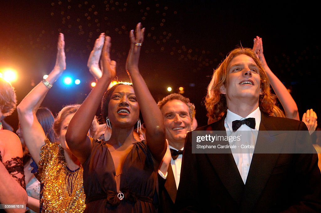 Andrea Casiraghi (R) attends the annual Red Rose Ball.
