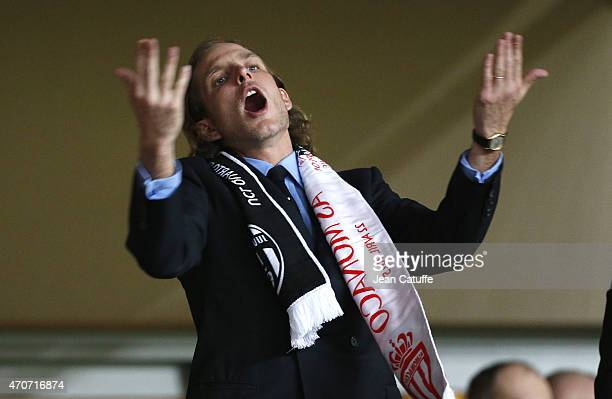 Andrea Casiraghi attends the UEFA Champions League quarterfinal second leg match between AS Monaco FC and Juventus at Stade Louis II on April 22 2015...