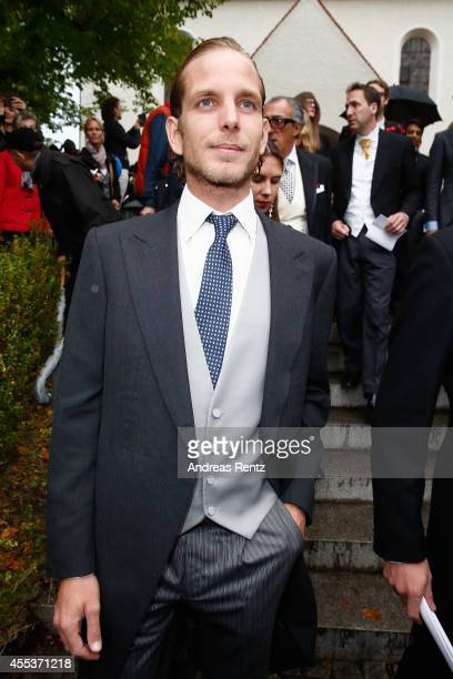Andrea Casiraghi attends the wedding ceremony of Princess Maria Theresia von Thurn und Taxis and Hugo Wilson at the St Joseph church on September 13...