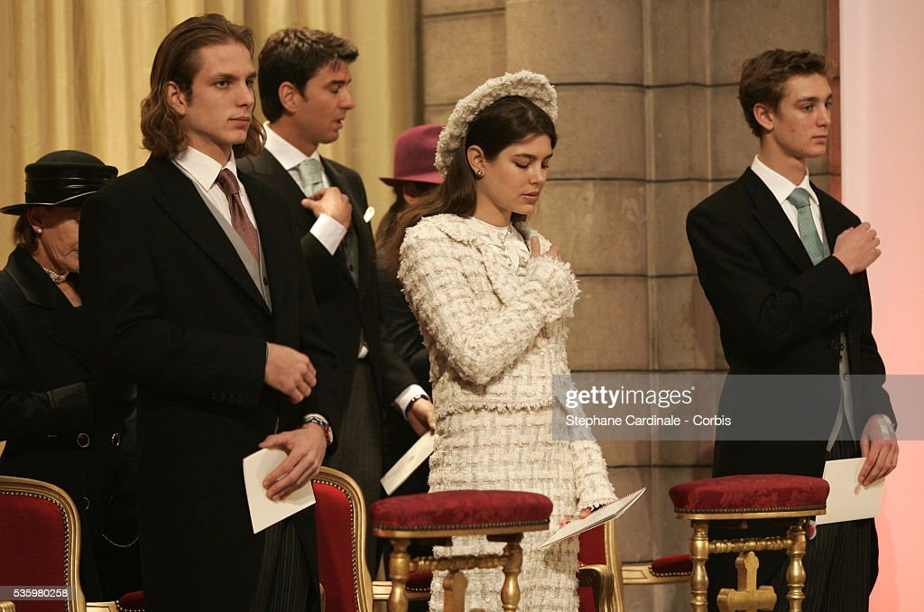 Andrea Casiraghi, Charlotte Casiraghi, and Pierre Casiraghi attend the Pontifical Mass marking Prince Albert II of Monaco's formal investiture as the new ruler of Monaco, in Monaco cathedral.