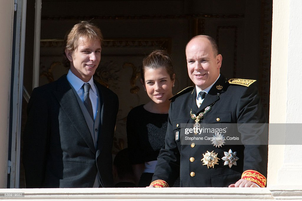 Andrea Casiraghi, Charlotte Casiraghi and Prince Albert II of Monaco attend the National Day celebrations 2010 in Monaco.