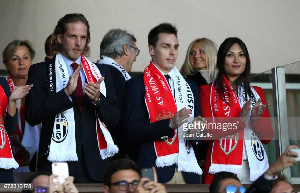 Andrea Casiraghi Louis Ducruet and Marie Chevalier attend the UEFA Champions League semi final first leg match between AS Monaco and Juventus Turin...