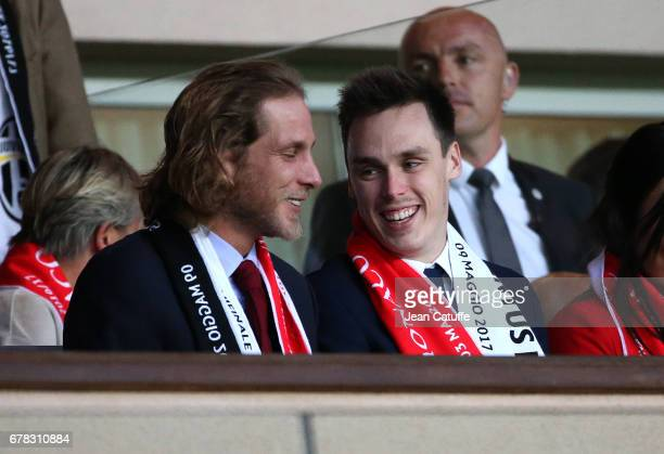 Andrea Casiraghi Louis Ducruet attend the UEFA Champions League semi final first leg match between AS Monaco and Juventus Turin at Stade Louis II on...