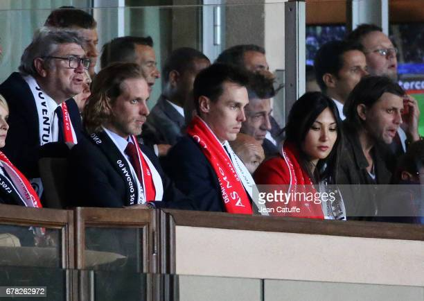 Andrea Casiraghi Louis Ducruet Marie Chevalier during the UEFA Champions League semi final first leg match between AS Monaco and Juventus Turin at...