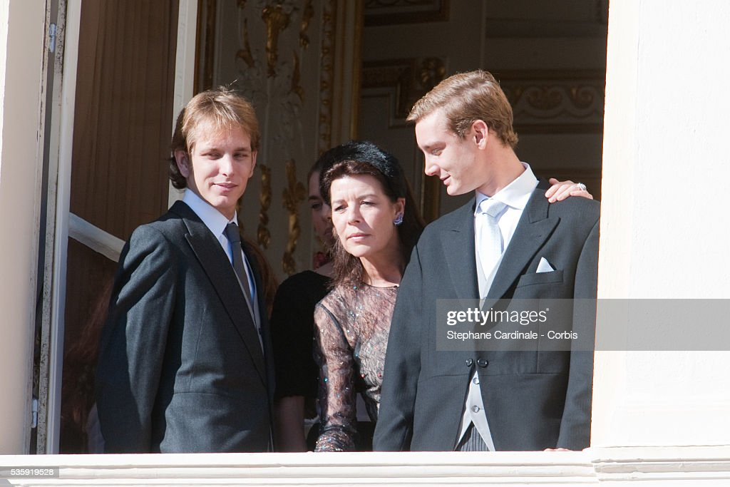 Andrea Casiraghi, Princess Caroline of Hanover and Pierre Casiraghi attend the National Day celebrations 2010 in Monaco.