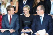Andrea Casiraghi Princess Charlene of Monaco and Prince Albert II of Monaco attend the Dior Cruise Collection 2014 show on May 18 2013 in Monaco...