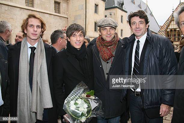 Andrea Casiraghi Quentin Mosimann Didier Gustin and Patrick Bruel attend the annual wine auction at Hospices de Beaune on November 15 2009 in Beaune...