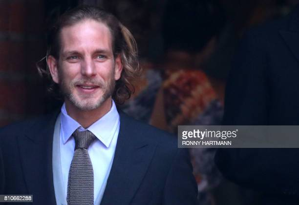 Andrea Casiraghi son of Princess Caroline of Hanover waits ahead the church wedding of Prince Ernst August of Hanover and Ekaterina of Hanover in...