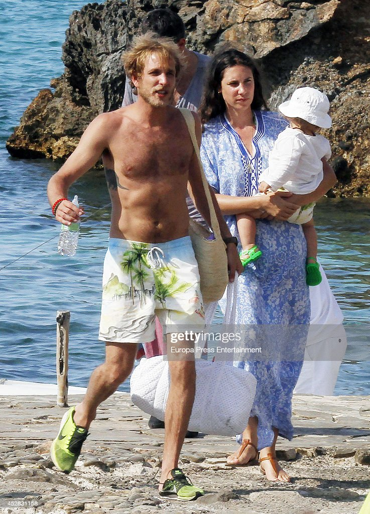 Andrea Casiraghi, Tatiana Santo Domingo and Sacha Casiraghi are seen on July 26, 2014 in Ibiza, Spain.