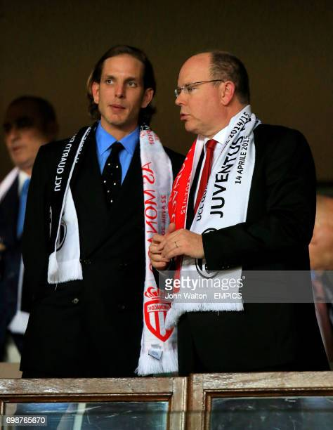 Andrea Casiraghi with Prince Albert II of Monaco in the stands before the game