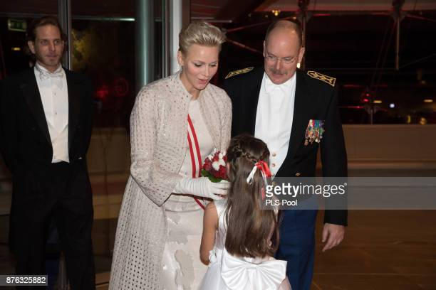 Andrea CasiraghiPrincess Charlene of Monaco and Prince Albert II of Monaco arrive at the Monaco National Day Gala in Grimaldi Forum on November 19...