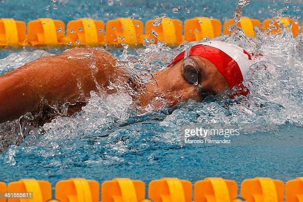 Andrea Cedron of Peru competes in 100 mts Finswimming event as part of the XVII Bolivarian Games Trujillo 2013 at pools complex of Mansiche Stadium...