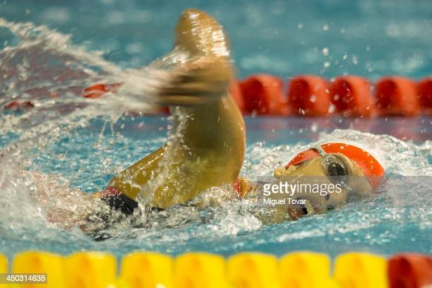 Andrea Cedron of Peru competes in the women's 400 meter freestyle as part of the XVII Bolivarian Games Trujillo 2013 at Mansiche Stadium on November...