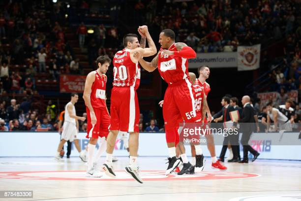 Andrea Cinciarini and Curtis Jerrells celebrate during a game of Turkish Airlines EuroLeague basketball between AX Armani Exchange Milan vs Brose...
