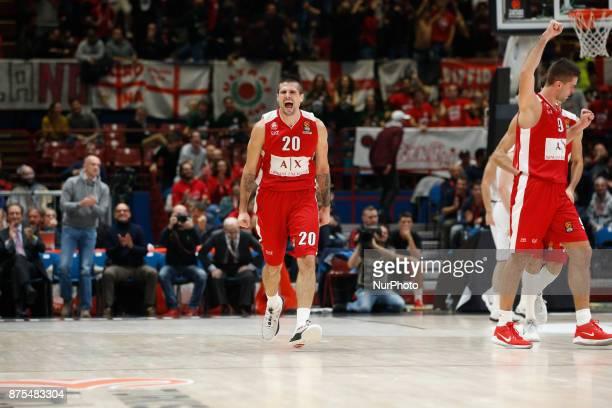 Andrea Cinciarini celebrates during a game of Turkish Airlines EuroLeague basketball between AX Armani Exchange Milan vs Brose Bamberg at Mediolanum...