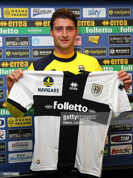 Andrea Coda is presented as the new signing to Parma FC during a press conference at the club's training ground on January 26 2013 in Collecchio Italy