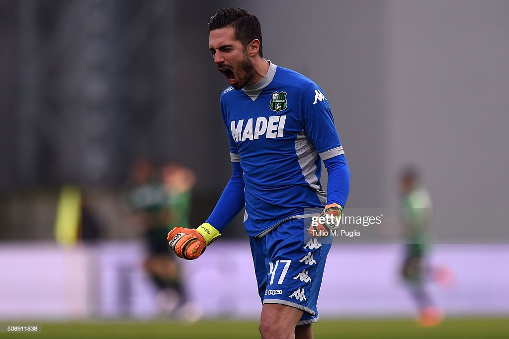 <a gi-track='captionPersonalityLinkClicked' href=/galleries/search?phrase=Andrea+Consigli&family=editorial&specificpeople=5482490 ng-click='$event.stopPropagation()'>Andrea Consigli</a> goalkeeper of Sassuolo celebrates his team's second goal during the Serie A match between US Sassuolo Calcio and US Citta di Palermo at Mapei Stadium - Città del Tricolore on February 7, 2016 in Reggio nell'Emilia, Italy.