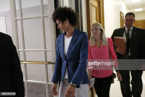 Andrea Constand leaves the courtroom during a lunch break in the Montgomery County Courthouse in Norristown Pennsylvania on June 12 2017 Cosby is on...