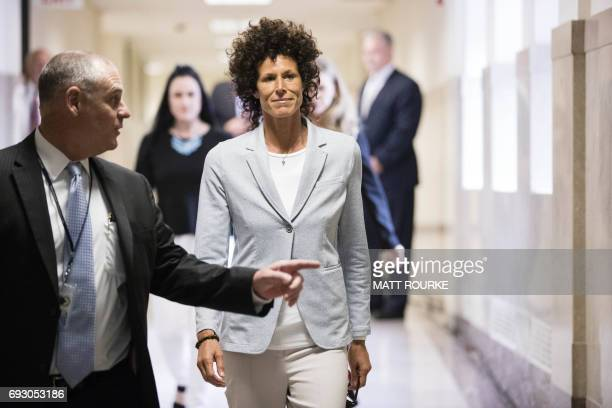Andrea Constand walks to the courtroom during Bill Cosby's sexual assault trial at the Montgomery County Courthouse on June 6 2017 in Norristown...