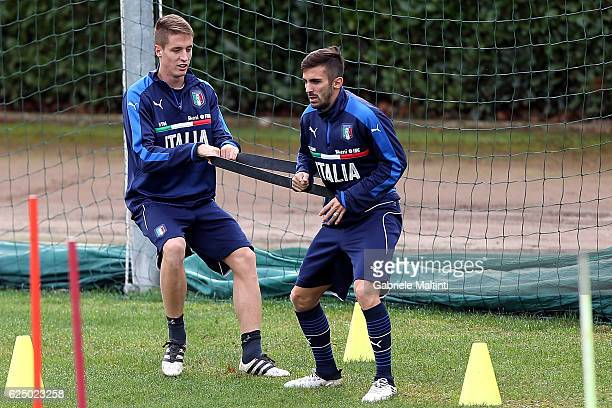 Andrea Conti and Mardo D'Alessandro of Italy during a trainig session at Coverciano on November 22 2016 in Florence Italy